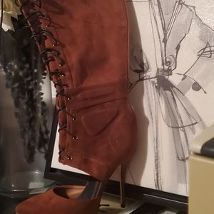 Shoes - Pretty Brown Knee High Tie Up Boot